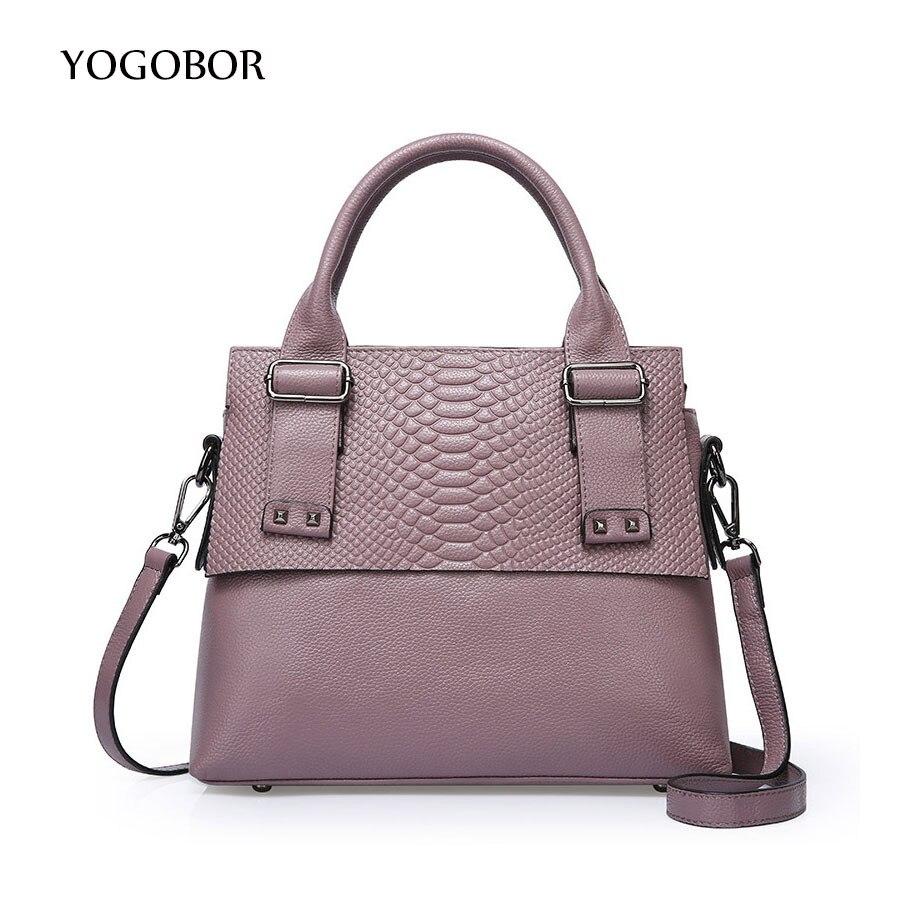 ФОТО YOGOBOR brand genuine leather classic crocodile bags for women shoulder messenger bags elegant handbags top-handle tote bag