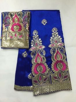 5 Yards New fashion royal blue african George lace fabric with gold sequins and 2yards net lace for clothes JG18-4