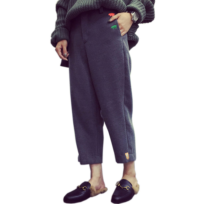 Thick Winter Wool Pants Women Trousers Black Gray Loose Casual Harem Pants Capris Female Mid Waist