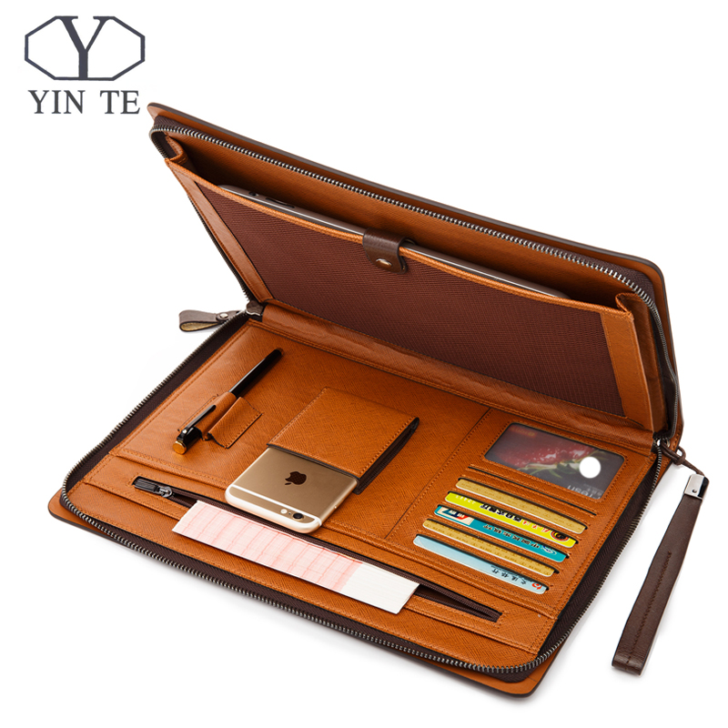 YINTE Fashion Leather Men's File Folder Bag A4 Paper Business Clutch Bag One Zipple Wallet Documents Men's Bag Portfolio T5480