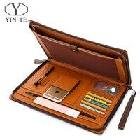 YINTE Fashion Leather Men's File Folder Bag A4 Paper Business Clutch Bag One Zipple Wallet Documents Men's Bag Portfolio T5480