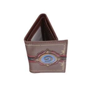 Image 4 - Hearstone carteira com três dobras, carteira curta em couro com gravura em heróis de warcraft hearstone