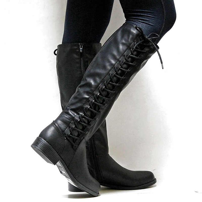 Kadın kış kar botları bayan ayakkabıları sonbahar kış sıcak binici çizmeleri Lace Up düz kare motosiklet deri çizme
