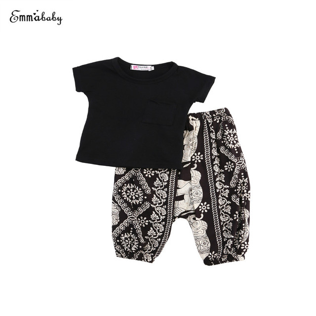 0d22120f2 Newborn Baby Girls Short Sleeve O-Neck Pullover Blank Shirt Top Floral  Print Pants 2PCS Outfit Summer Sunsuit Kids Clothing Sets