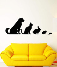 Vinyl wall applique veterinary clinic animal pet dog cat rabbit hamster sticker, pet house zoo decoration wall sticker  CWY07