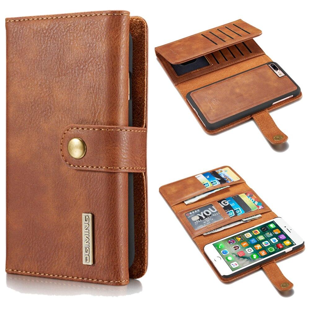 Роскошные нескольких карт кожаный чехол для iPhone 6 6 S 7 7 Plus Coque для Samsung S7 S7edge магнитная Съемная откидная крышка кошелек
