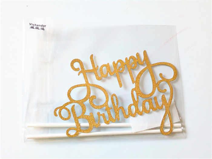 1 pçs multi-cor cupcake bolo topper feliz aniversário bolo bandeiras dupla vara para festa de casamento da família decoração de cozimento suprimentos