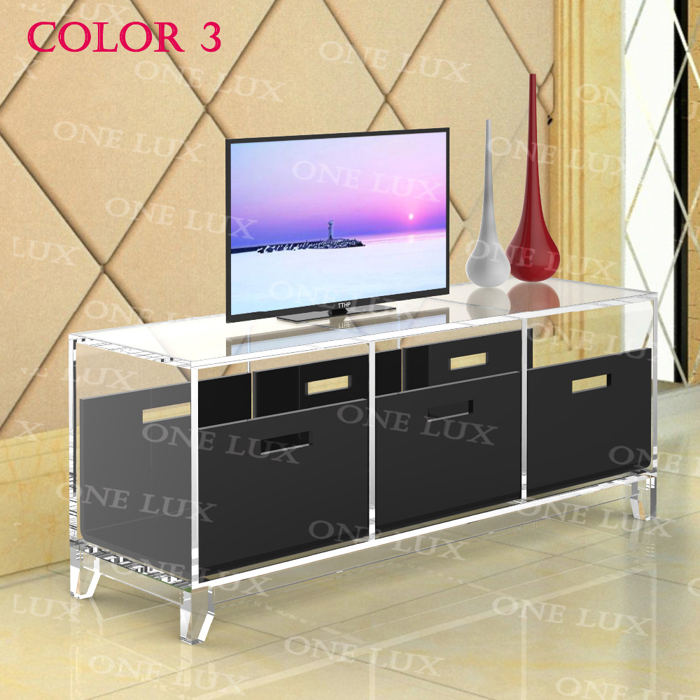 ONE LUX Lcuite Acrylic TV Stand Table,Plexiglass Cabinet With Removable  Trays,Perspex Living Room Side Wall Corner Tables Part 92