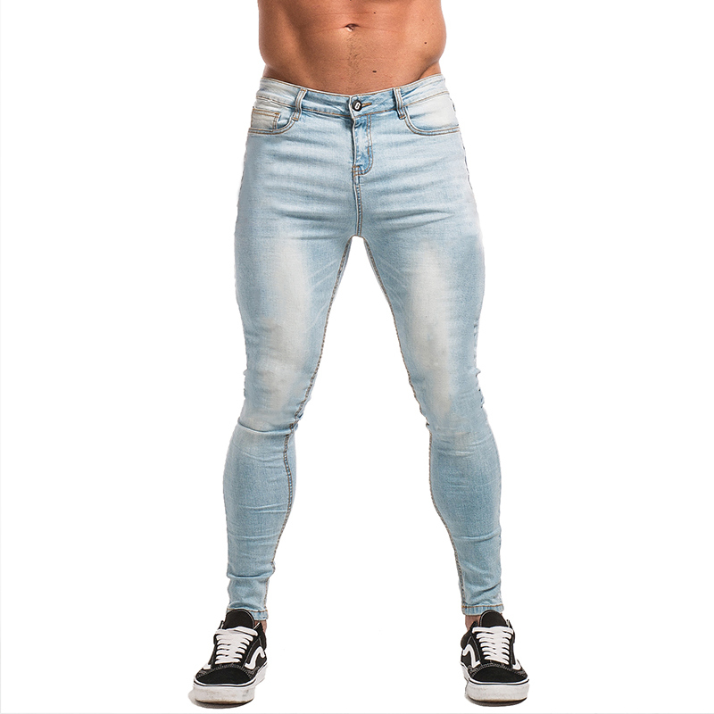 GINGTTO Skinny   Jeans   for Men Stretch Denim   Jeans   Slim Fit Tight Pants Brand Athletic Strong Leg Big Size Super Spray on zm32