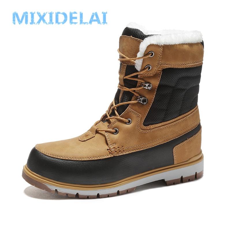 MIXIDELAI Super Warm Fur Men's Boots Waterproof Lace Up Snow Boots Men's Footwear Fashion Rubber Ankle Boots Plus Size 39-46