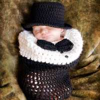 Black Handmade Crochet Newborn Photography Props Knitting Gentleman Baby Boy Hat Body Cover Conjunto De Bebe