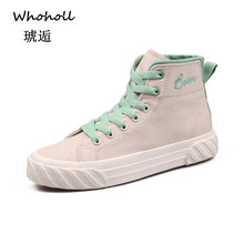 Whoholl Black High-top Women Canvas Shoes Lace Up Breathable Womens Vulcanize Casual Sneakers 40
