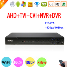 Hi3531A 16CH Two SATA Coaxial Hybrid 1080P Full HD 2MP Surveillance Video Recorder 5 in 1 NVR TVI CVI AHD CCTV DVR Free Shipping