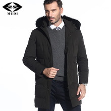MUDI Duck Down Coat Men Thick Warm Winter Jackets With Removable Real Fox Fur Hooded Down Jacket Top Quality Black Overcoat 7XL