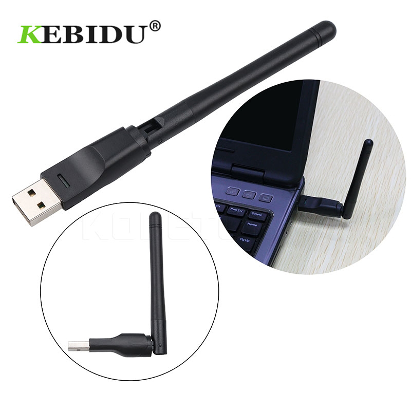 Kebidu 150Mbps Wireless USB WiFi Receiver WiFi Adapter WLAN Network Card 2DB Wifi Antenna