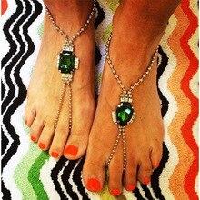 Женская мода сплава кристалла браслеты зеленый драгоценный камень цепи ноги ювелирных изделий бисер старинные роскошные женщины ножные браслеты