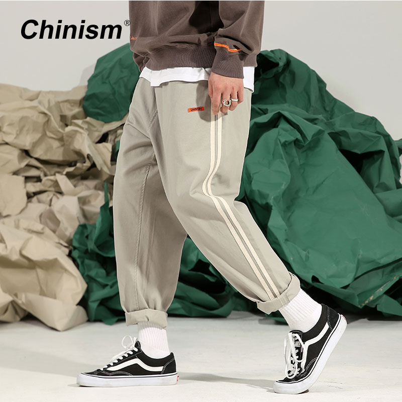 CHINISM 2018 Spring Side Line Striped Pencil Pants Mens Loose Casual Elastic Waist Long Trousers Fashion Harem Pant
