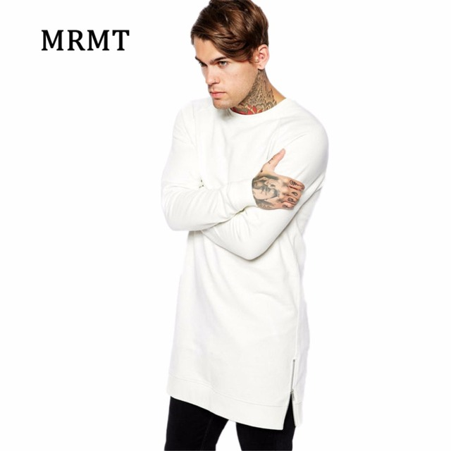 2017 Brand Clothing Mens Long White T shirt Men Sweatshirts Zip Tall Solid None hoodies Sweatshirts Warm