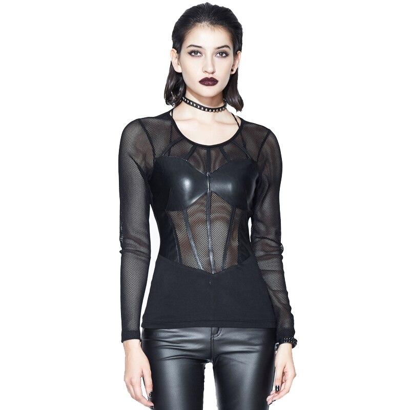 T shirts Women Fashion Punk T shirt Mesh Top Hollow Out Black Sexy Lady T shirt Fabric Cool Tees 2018 New Arrival Devil Fashion
