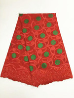 5 Yards/pc Gorgeous red embroidery african cotton fabric and green flower design swiss voile lace for clothes BC156 4