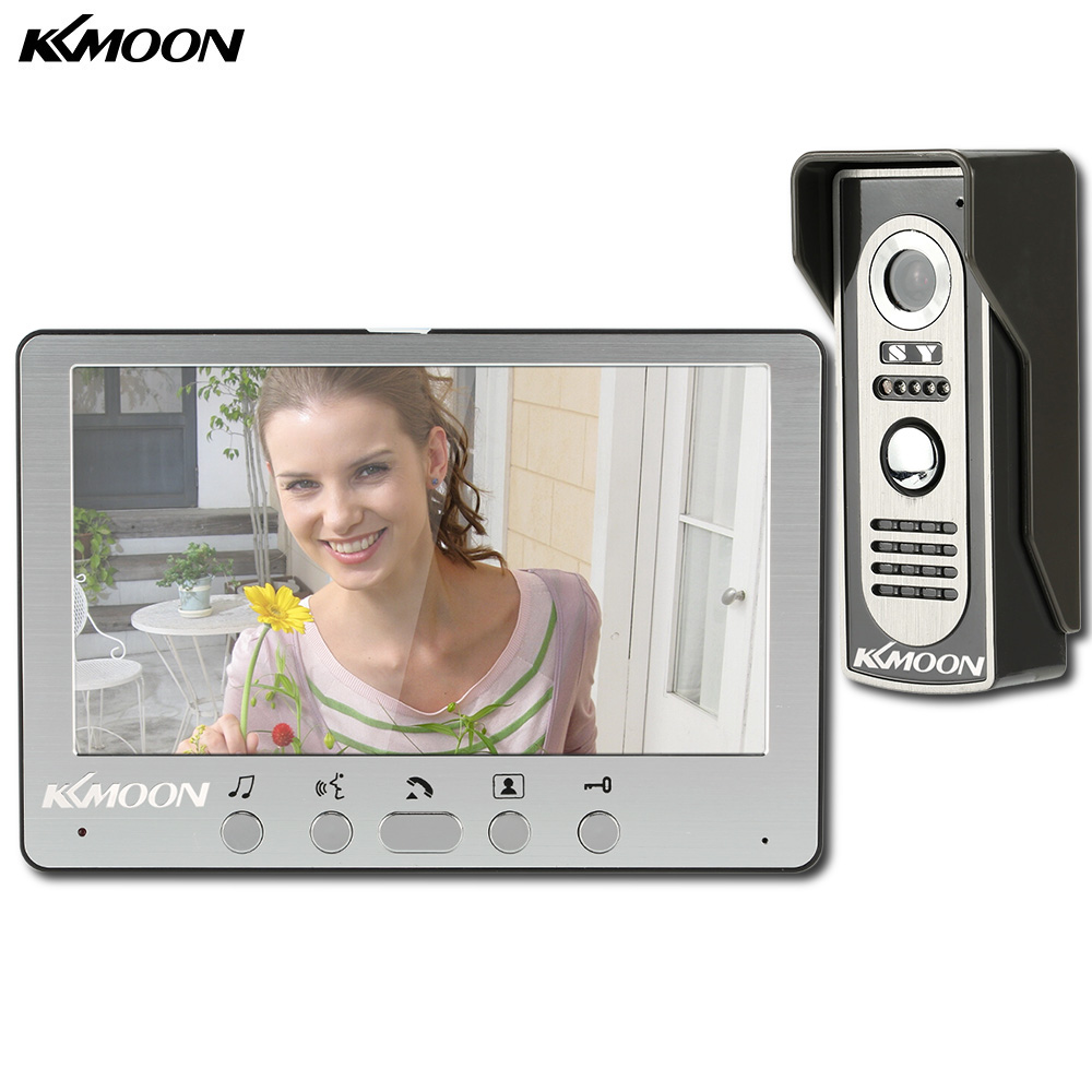 KKmoon Visual Intercom Doorbell 7'' TFT LCD Wired Video Door Phone System Indoor Monitor 700TVL Outdoor IR Camera Support Unlock(China)