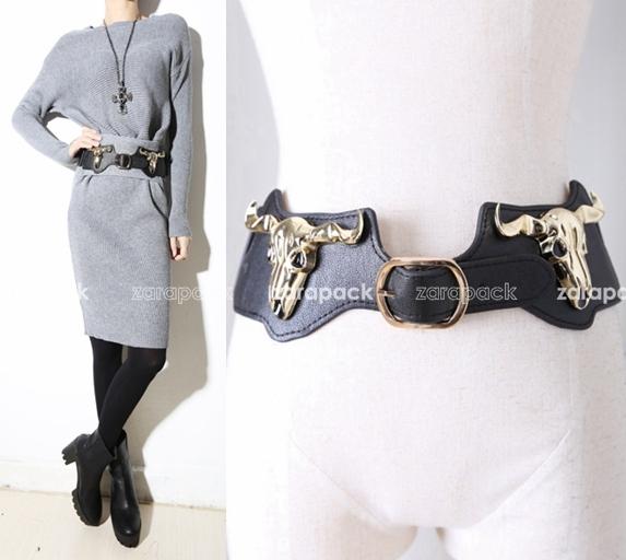 Dorado diseñador Bull adorno mujeres elástico cinturón ancho moda envío gratis
