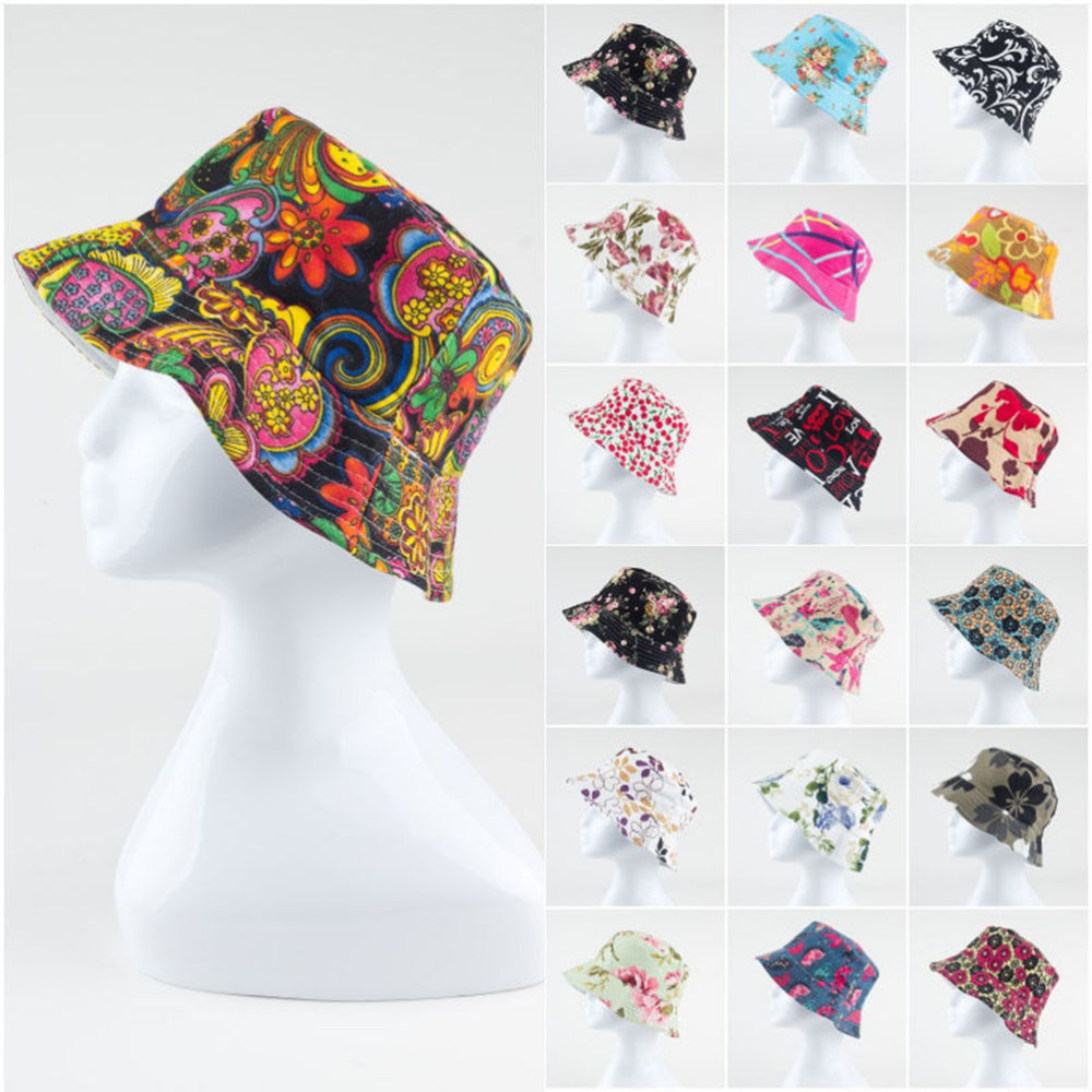 1pcs Brand Spring Women Hat Cap Men Bucket Hat Flat Ladies Sun Hat Male Floral Female Summer Hip Hop Panama Cap