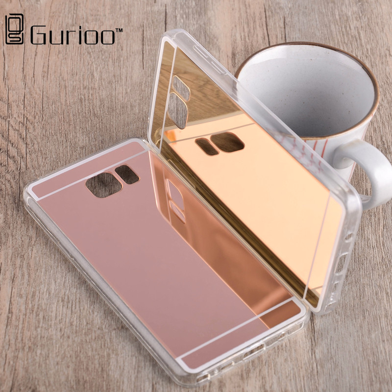 Luxury Plating Mirror TPU Silicon Frame Case For Samsung Galaxy Note 2 3 4 Note 5 Note 7 Cover Soft Acrylic Back Phone Bag Case