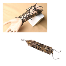 New 1 Pc Women Ladies Steampunk Style Lace Fingerless Long Gloves Lace Hollow-Out Chain Bracelet Gloves Party Costume