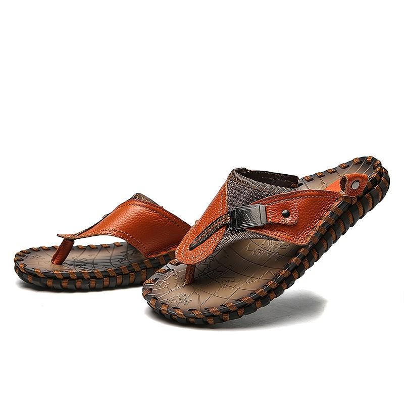 Valstone Marka Luksuzni pravi kožni papuče Muška ljetna prirodna - Muške cipele - Foto 3