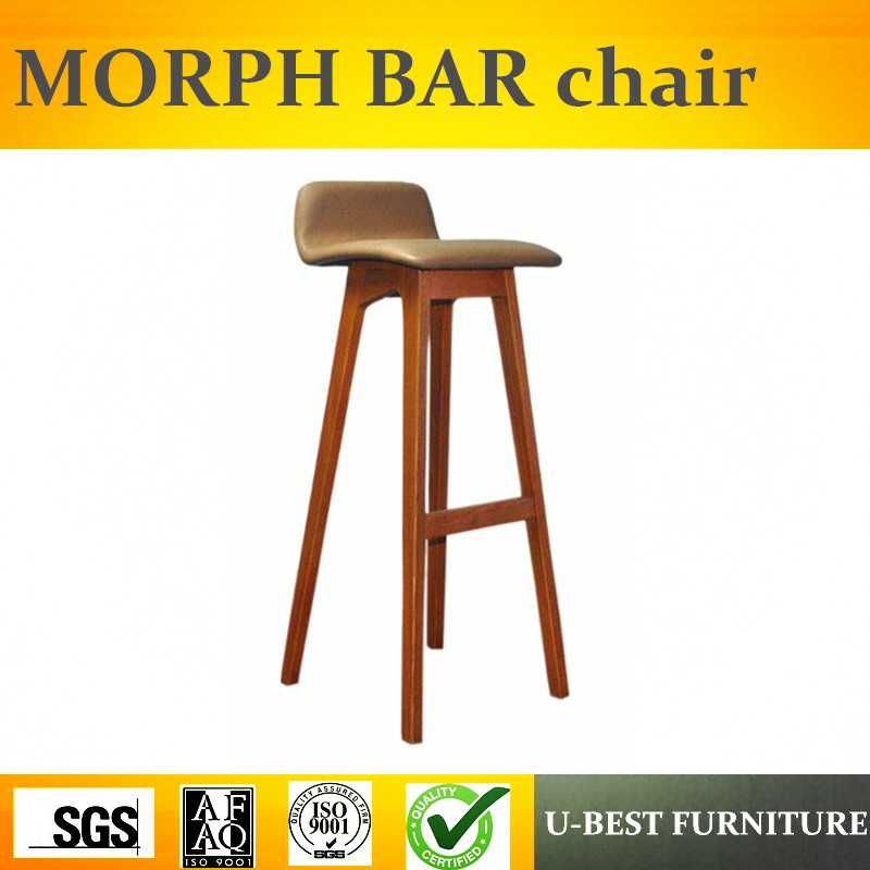 Free Shipping U-BEST Cafe Furniture Hot Solid Wood Bar Chair And The High Quality Pu Leather Bar Stool