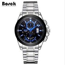 Bosck relógios dos homens de aço inoxidável 3116, lazer moda luminosa relógio à prova d' água relojes hombre marcas famosas montre homme