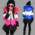 Chica de invierno de Algodón Gruesa Chaqueta de la Capa Caliente Multicolor Franja prendas de Vestir Exteriores