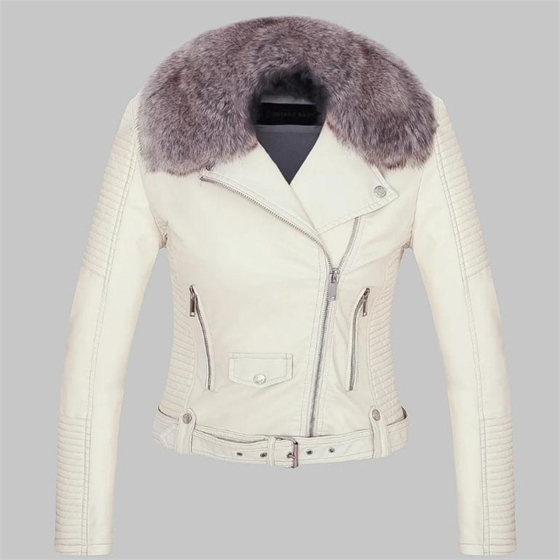 Pu   Leather   Jacket Coat Autumn and Winter Thickening Velvet Fashion Leisure and Warm Jacket Long sleeve Lapel zipper Short Style
