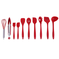 10Pcs Silicone Cooking Tools Silicone Kitchen Utensils Set Spoon Soup Ladle egg Turner Hygienic Solid Coating