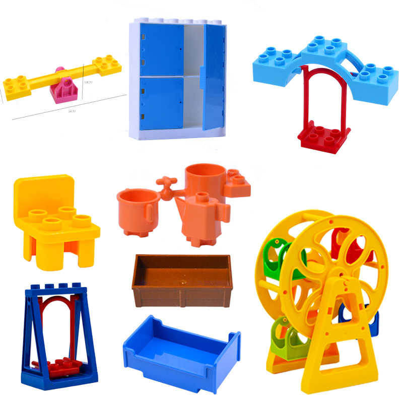 DIY Seesaw Building Blocks Bricks Accessories Home Furniture Sofa Bed Bath Compatible with Brand Duploe Toys for Children