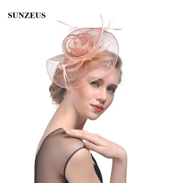 4cb41c49f852e Elegant Linen Flower Bridal Hats Simple Wedding Hats for Bride Women s  Party Hair Accessories Girls Dancing Prom Hats SH40