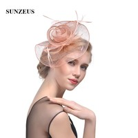 Elegant Linen Flower Bridal Hats Simple Wedding Hats for Bride Women's Party Hair Accessories Girls Dancing Prom Hats SH40