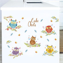 Colorful Cute Owls Tree Branch Wall Sticker For Kids Rooms Decals Art Home Decor Mural Children Room Decal Decoration