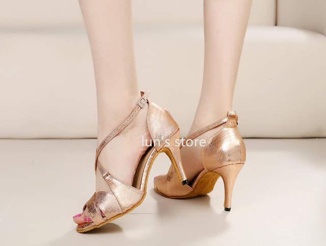 placeholder New Women Rose Gold Snakeskin Print Ballroom Latin Dance Shoes  Salsa Bachata Dance Shoes ALL SIZE 3db9218604b9