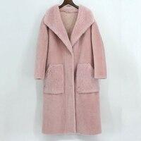 Стриженого меха овчины овечьей шерстью пальто женские зимние розовый из натурального меха Верхняя одежда для женщин на осень зиму плотная