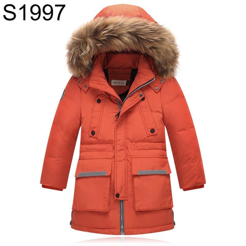 Hot Sale Kids Winter Long Down Jackets Big Children Warm Hooded Outerwear And Coat Fashion Big Fur Collar Warm Thickening Jacket