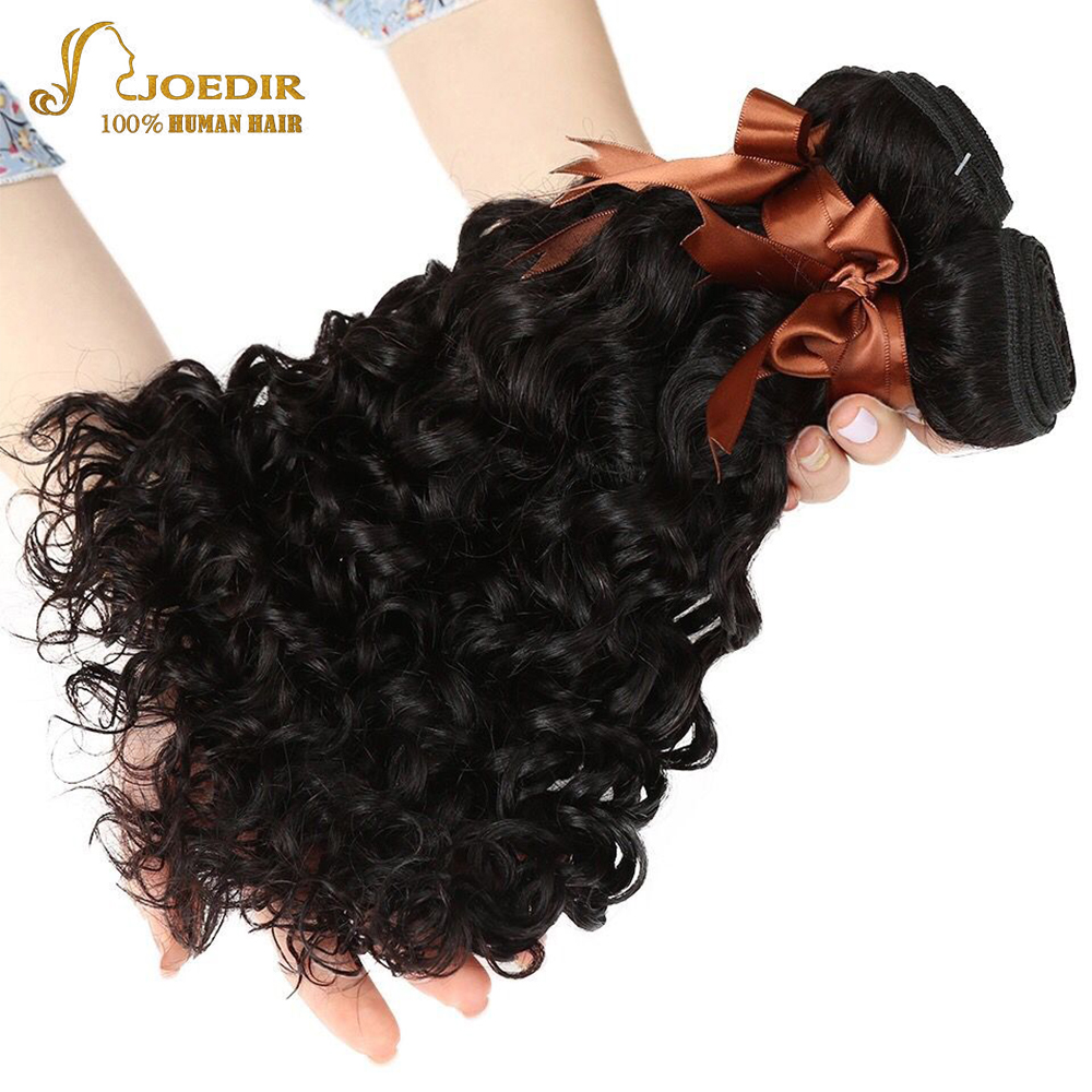 Joedir Human Hair Indian Water Wave 3 Bundles Deal 100% Human Hair Weave Bundles Non Remy Hair Extensions Wet And Wavy Hair(China)
