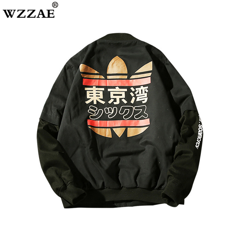 2018 Fashion Men Bomber Jacket Hip Hop Patch Designs Slim Fit Pilot Bomber Jacket Coat Men Jackets Plus Size M-XXL Drop Shipping