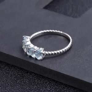 Image 3 - GEMS BALLETT Klassische 1,47 ct Oval Natürliche Sky Blue Topaz Stapelbar Finger Ring Für Frauen Hochzeit 925 Sterling Silber Feine schmuck