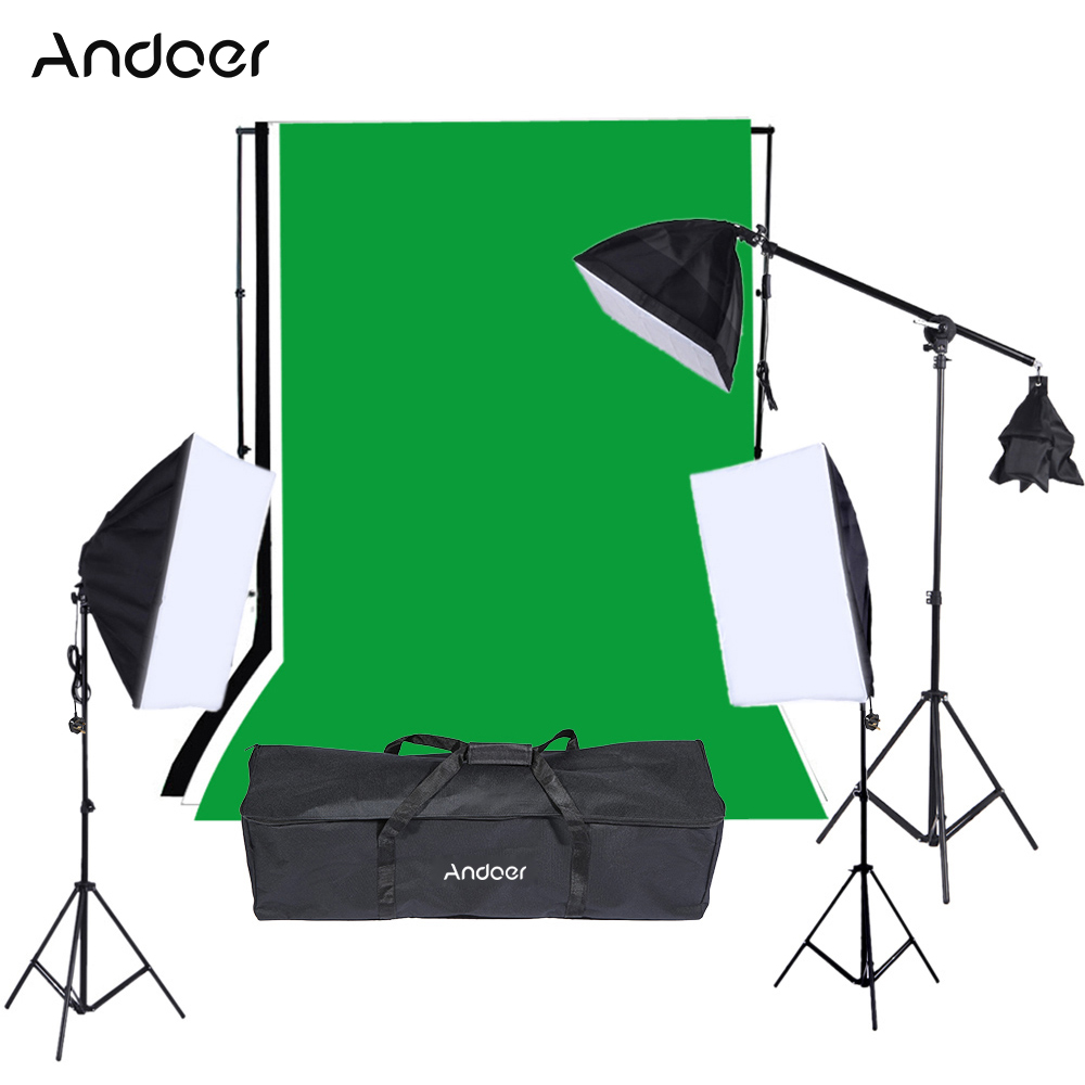 1215W Softbox Photography Lighting Kit Studio Backdrop Stand Black White Green Backdrop 135W Light Bulbs Softbox