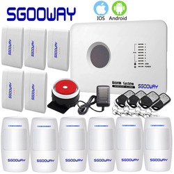 Sgooway aplikacji system alarmowy GSM rosyjski angielski francuski polski bezprzewodowy Alarm bezpieczeństwa w domu system alarmowy GSM