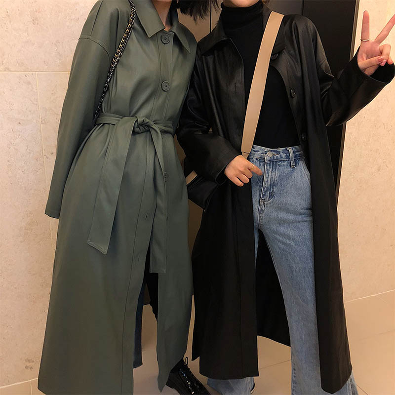OFTBUY 2019 Spring Coat Women Biker PU Leather Jacket Black Long Trench Coat Loose Windbreaker Gothic Korean Office Fashion