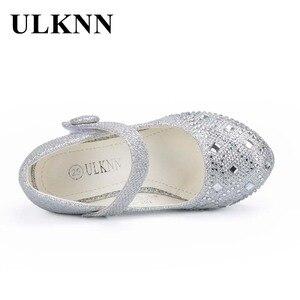 Image 5 - Ulknn crianças princesa sapatos para meninas sandálias de salto alto brilho brilhante strass enfants fille feminino vestido festa sapatos