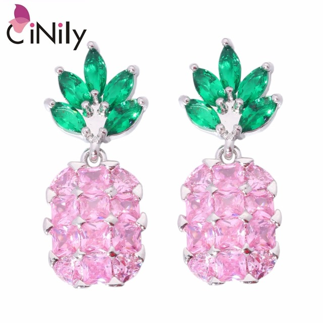 Cinily Pink Stone Green Silver Plated Whole Pinele For Women Jewelry Party Gift Stud Earrings
